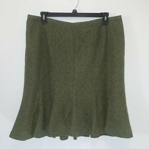 LANE BRYANT Green Tweed Flare Skirt Sz 18